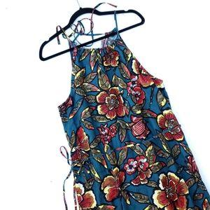 LOFT Floral Blue Linen Blend Tie Waist Maxi Dress